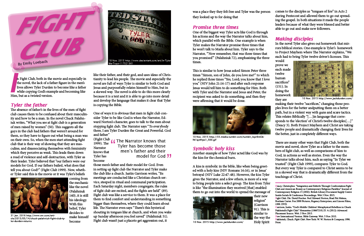 essay on fight club the movie Fight club is the most frankly and cheerfully fascist big-star movie since death  wish, a celebration of violence in which the heroes write.